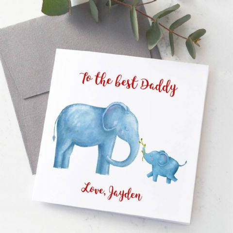 Personalised Dad And Baby Elephant Card